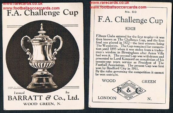1935 Barratt F A Cup Winners 50 the FA cup football card